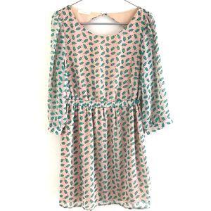 Lush Cutout Back Mini Dress Tan Floral Size Medium